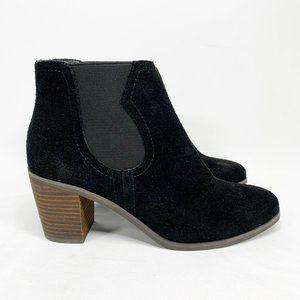 LUCKY BRAND Black Suede Chelsea Boots Block Heel